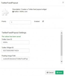 Twitter feed popout settings